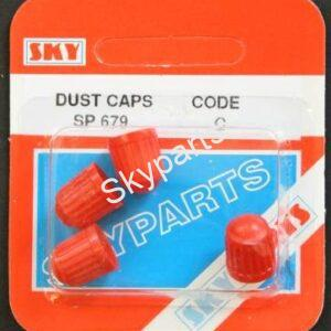 RED PLASTIC DUST CAPS CARDED