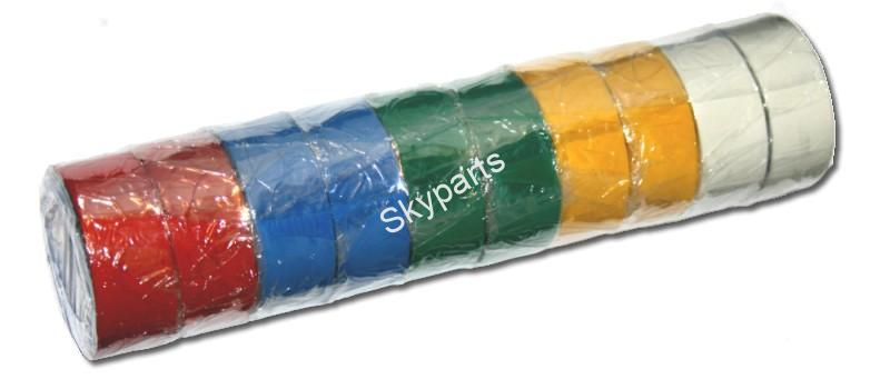 PVC TAPE ASSORTED COLOUR PACK 4.6Mtr x 19 1X10