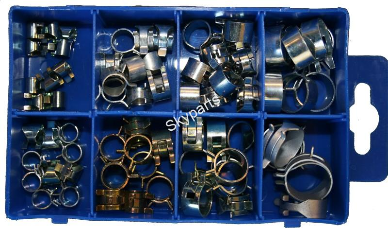 ASSORTED SELF CLAMPING PETROL PIPE CLIPS