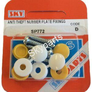 Yellow & White anti theft number plate screws & caps